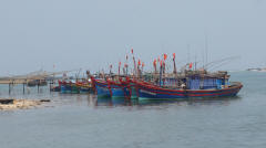 Fishing Boats on Nhat Le River
